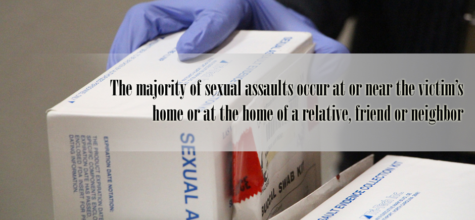 The majority of sexual assaults occur at or near the victim's home or at the home of a relative, friend or neighbor
